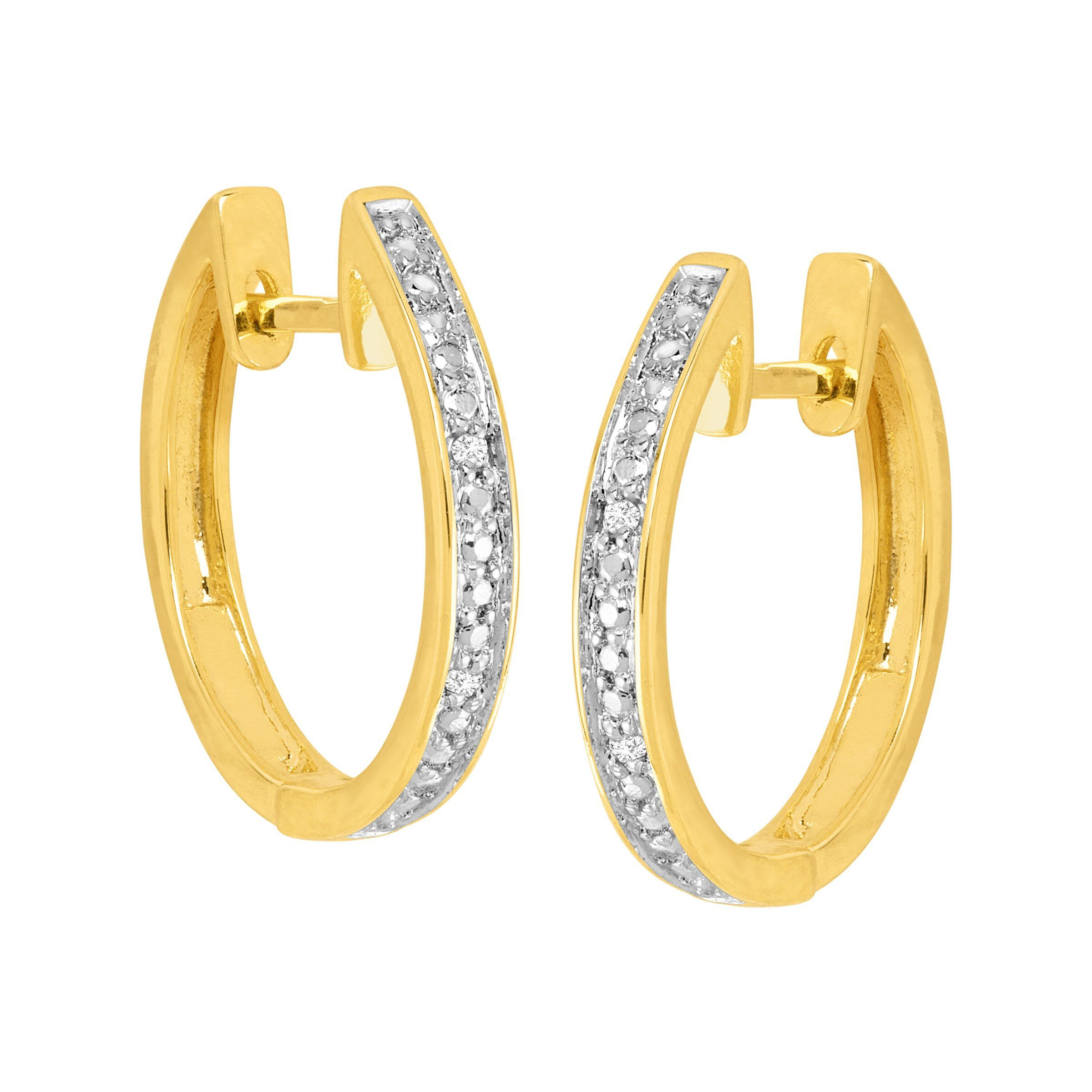Hoop-Earrings-with-Diamonds-in-Plated-Brass thumbnail 14