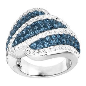 Blue & White Wave Ring with Crystals
