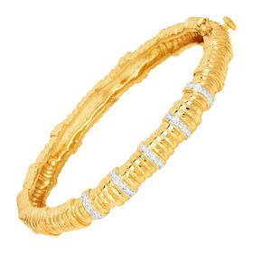 Bamboo Hinge Bangle with Diamonds