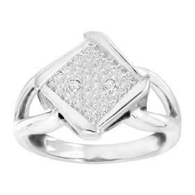 Bypass Square Ring with Diamonds, White