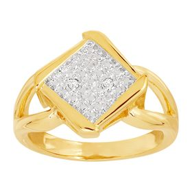 Bypass Square Ring with Diamonds, Yellow