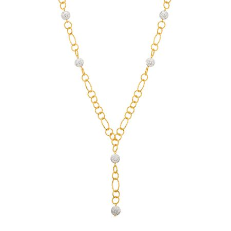 Beaded Lariat Necklace with White Swarovski Crystals