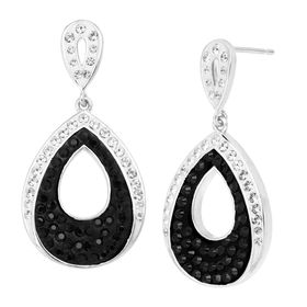 Teardrop Earrings with Black & White Crystals