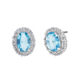 Light Blue & White Halo Earrings with Cubic Zirconias