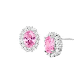 Pink & White Halo Earrings with Cubic Zirconias