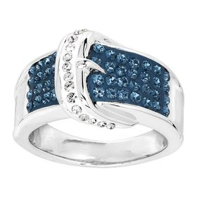 Blue & White Belt Buckle Ring with Crystals