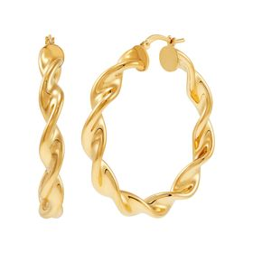 30 mm Ribbon Twist Hoop Earrings