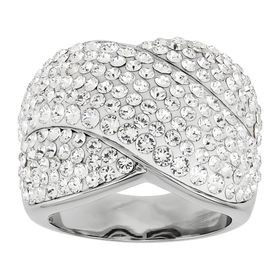 Crisscross Ring with Crystals