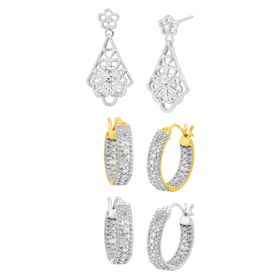 Hoops & Dangle Earring Set with Diamonds