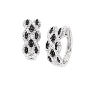 1/3 ct Black & White Diamond Ikat Hoops