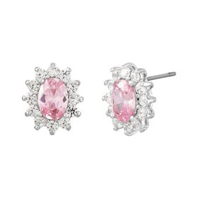 Light Pink Oval Halo Stud Earrings with Cubic Zirconias