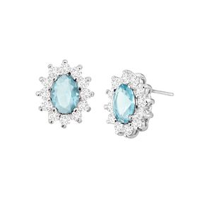 Light Blue Oval Halo Stud Earrings with Cubic Zirconias