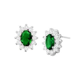 Green Oval Halo Stud Earrings with Cubic Zirconias