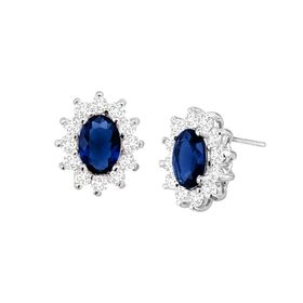Dark Blue Oval Halo Stud Earrings with Cubic Zirconias