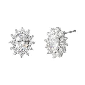 White Oval Halo Stud Earrings with Cubic Zirconias