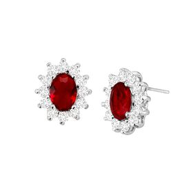 Red Oval Halo Stud Earrings with Cubic Zirconias