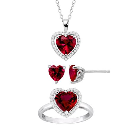 Ruby & White Sapphire Heart Pendant, Earring & Ring Set