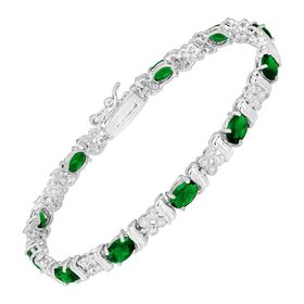 Green Glass Tennis Bracelet with Cubic Zirconia