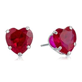 Ruby Heart Stud Earrings
