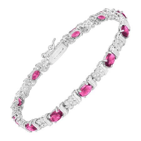 Pink Glass Tennis Bracelet with Cubic Zirconia