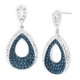 Teardrop Earrings with Blue & White Crystals
