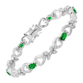 Green Glass Heart Tennis Bracelet with Cubic Zirconia