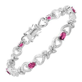 Pink Glass Heart Tennis Bracelet with Cubic Zirconia