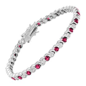 Tennis Bracelet with Pink Glass & Cubic Zirconia