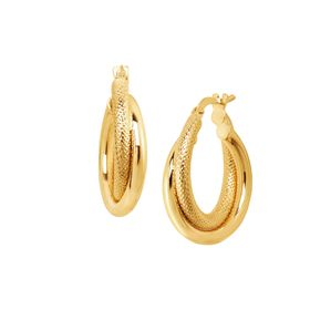 Textured & Polished Double Hoop Earrings