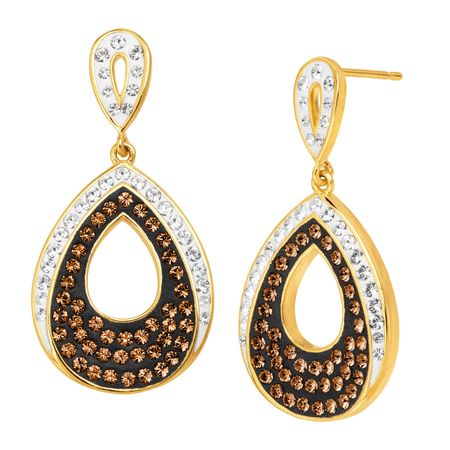 Teardrop Earrings with Brown & White Crystals