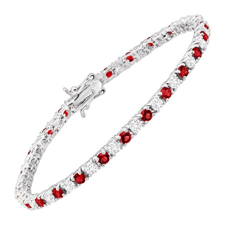 Tennis Bracelet with Red Glass & Cubic Zirconias