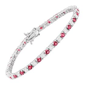Tennis Bracelet with Pink Glass & Cubic Zirconias