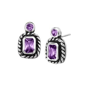 Geometric Stud Earrings with Purple Cubic Zirconias