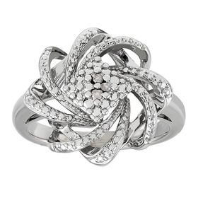 Flower Swirl Ring with Diamonds