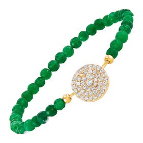 Circle Bead Bracelet with Cubic Zirconias