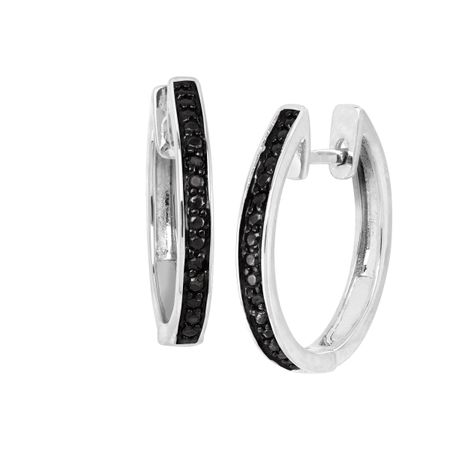 Hoop Earrings with Black Diamonds