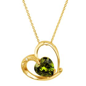 Heart Pendant with Green Cubic Zirconia