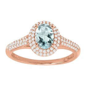 Aquamarine & 1/3 ct Diamond Halo Ring