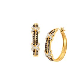 Striped 'X' Hoop Earrings with Swarovski Crystals