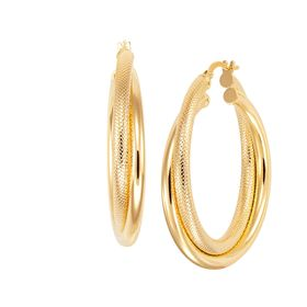 Dual Texture Hoop Earrings