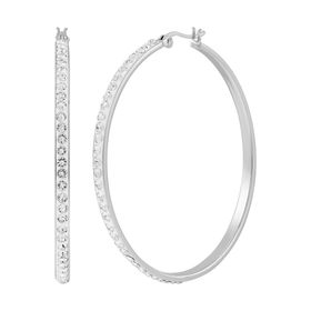 Hoop Earrings With White Crystals, Large