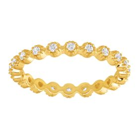 Eternity Band Ring with Cubic Zirconias, Yellow