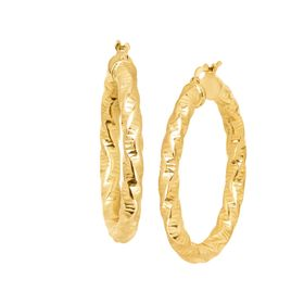 Twisted Diamond Cut Hoop Earrings