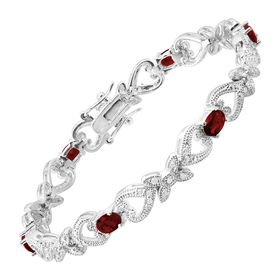 Red Glass Heart Tennis Bracelet with Cubic Zirconia