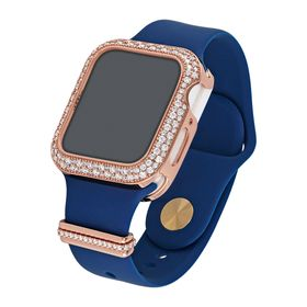 "40 mm Silicone Wrist Band With Cubic Zirconia For Apple Watch ""Blue/Rose"""