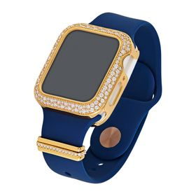 "40 mm Silicone Wrist Band With Cubic Zirconia For Apple Watch ""Blue/Gold"""