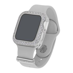 "40 mm Silicone Wrist Band With Cubic Zirconia For Apple Watch ""Grey/Silver"""