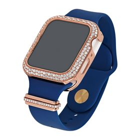 "44 mm Silicone Wrist Band With Cubic Zirconia For Apple Watch ""Blue/Rose"""