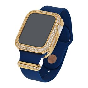 "44 mm Silicone Wrist Band With Cubic Zirconia For Apple Watch ""Blue/Gold"""