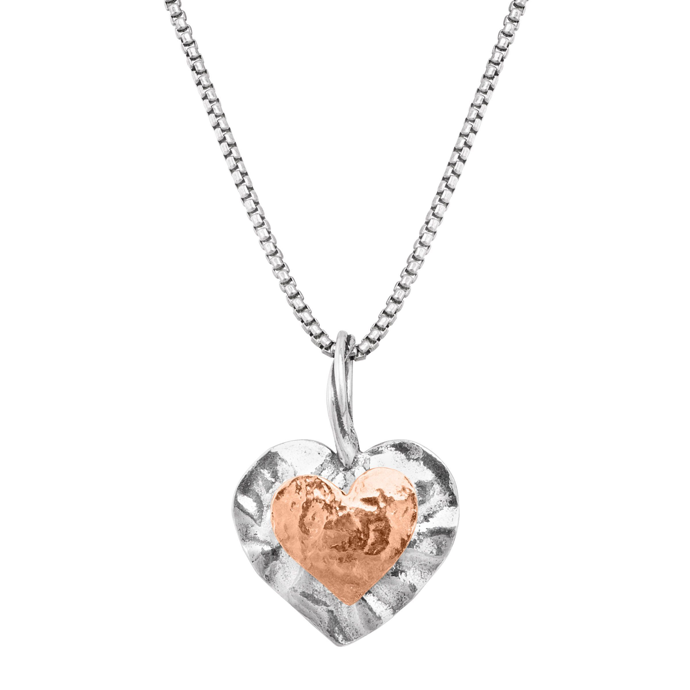 two toned silver and rose gold heart pendant necklace